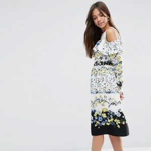 Asos Cold Shoulder ruffle floral dress